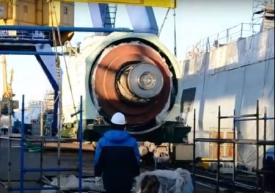 The first domestic gas turbines and gearboxes were loaded on the Admiral Golovko frigate